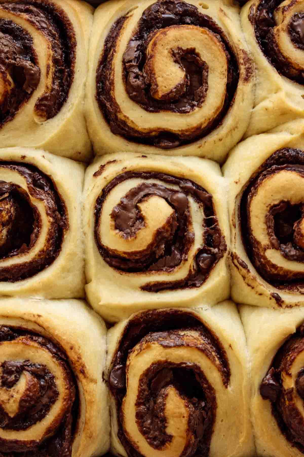 Baked rolls before chocolate glaze.